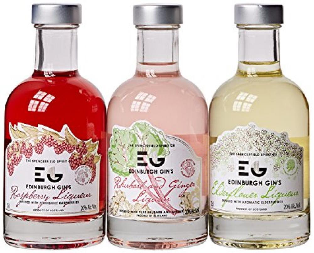 Edinburgh Gins RaspberryElderflowerRhubarb and Ginger Liqueurs Gift Set 20 cl