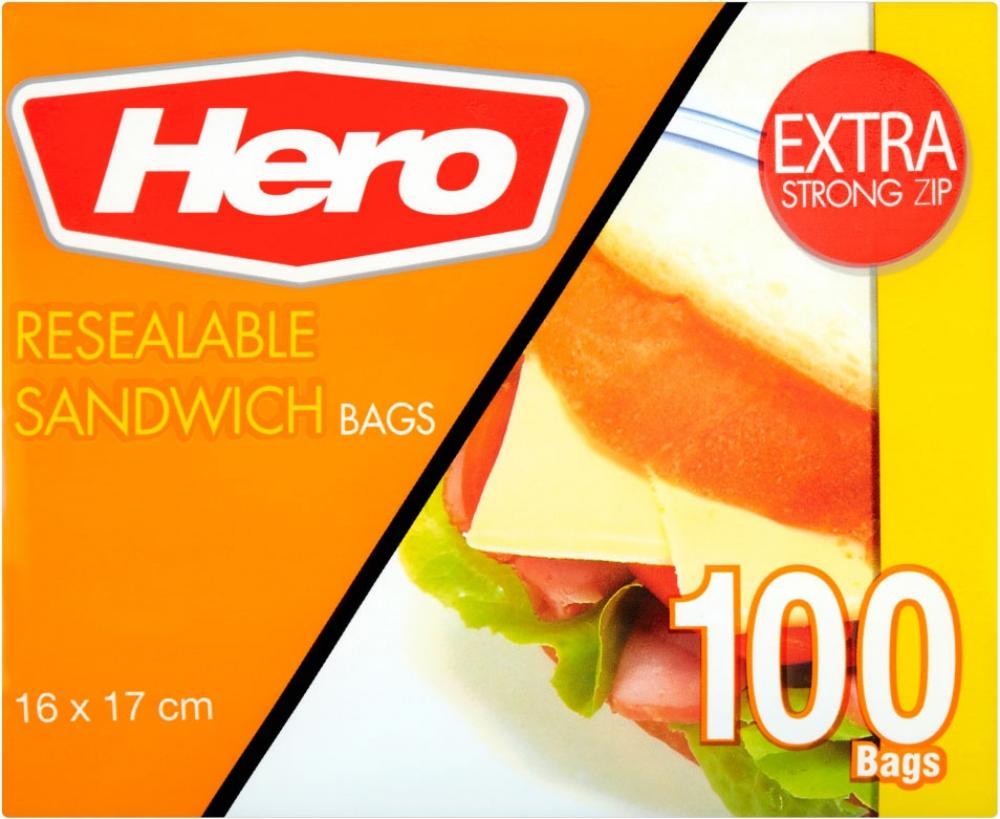 Hero Resealable Sandwich Bags 100 pack 16cm x 17cm