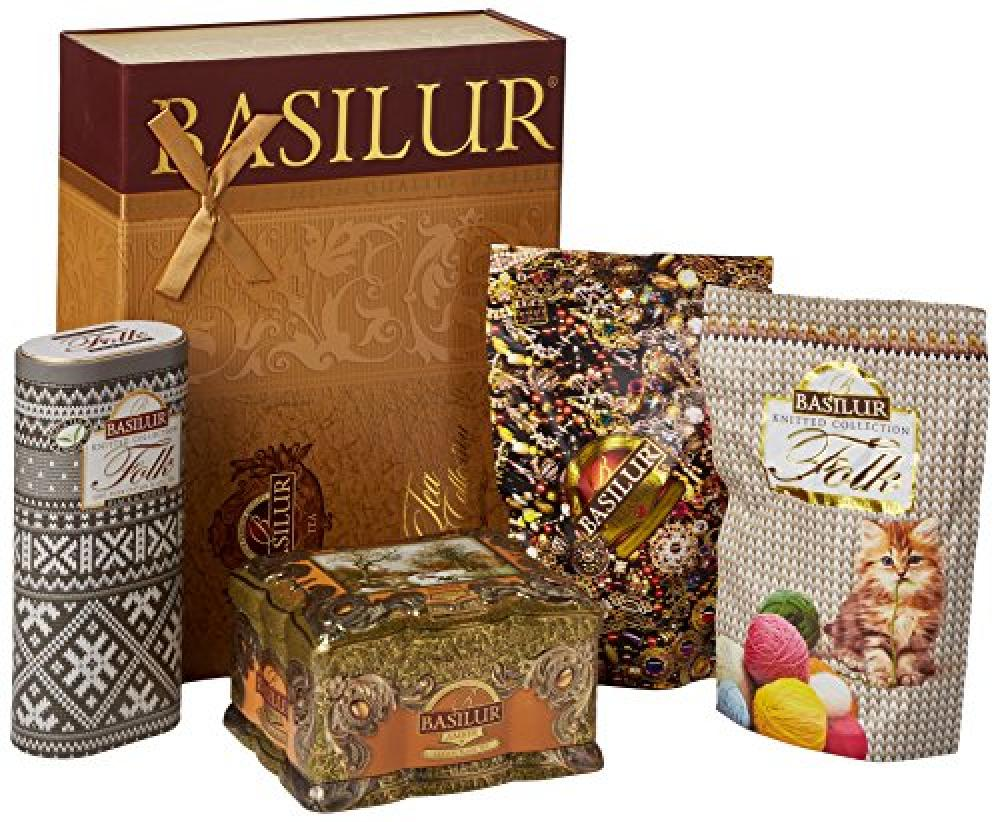 Basilur Tea Gift Collection Gold 2 in 1 Treasure Chest Amber and Knitted Folk Black and White 100 g