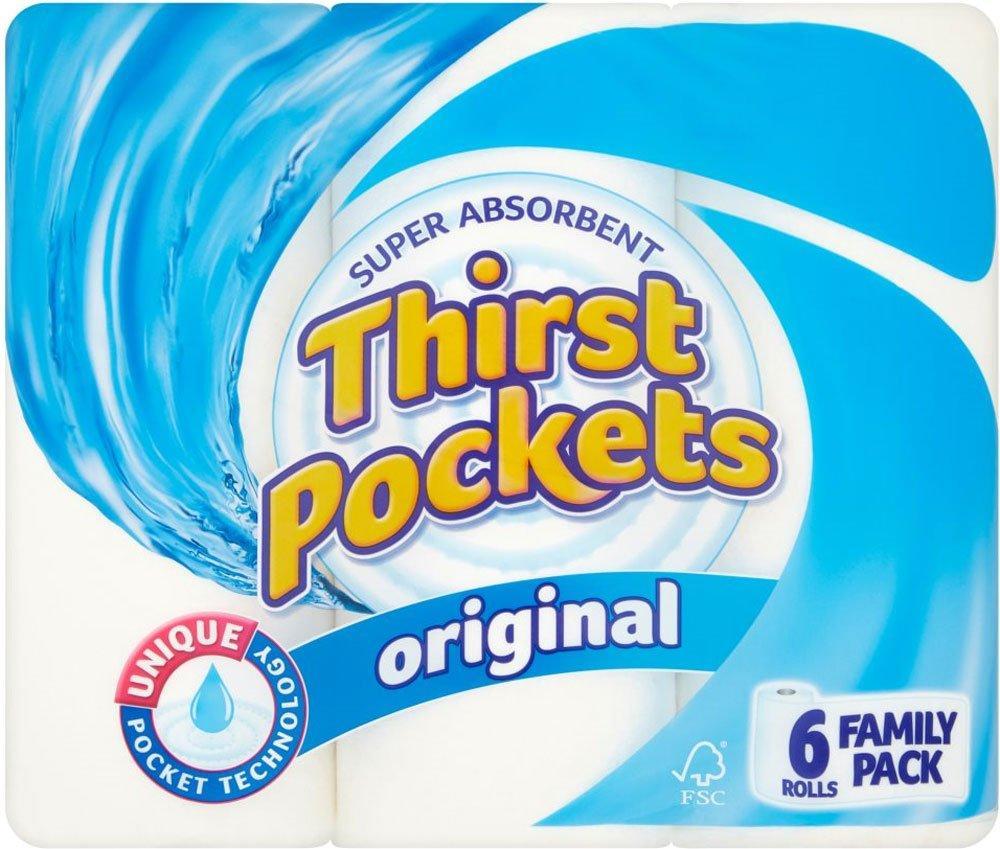 Thirst Pockets Kitchen Roll Original 6 Pack