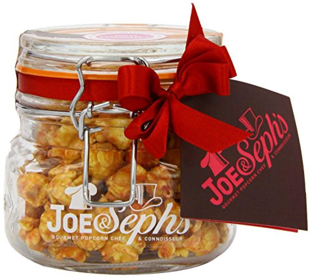 Joe and Sephs Jar of White Chocolate and Strawberry Popcorn 130g