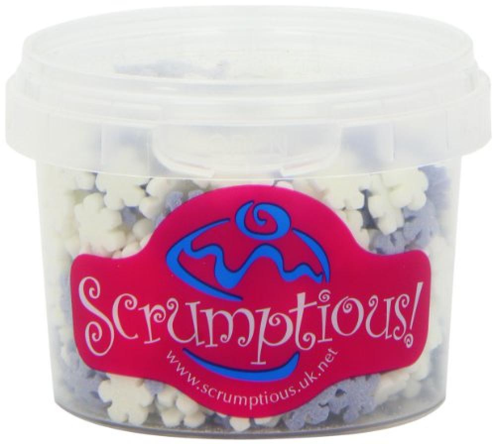 Scrumptious Frosted Blue and White Snowflakes Cake Decorations 60g