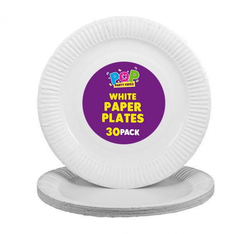Pop Disposable White Paper Plates 23cm 30 pack