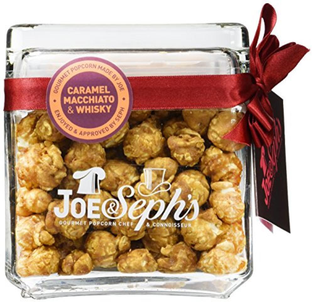 Joe and Sephs Square Glass Jar of Caramel Macchiato and Whisky Popcorn 120 g