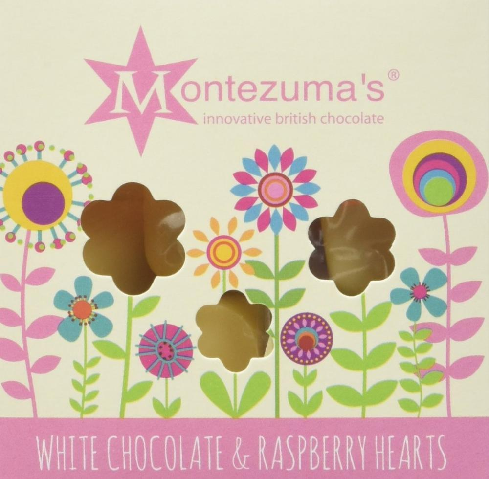 Montezumas White Chocolate and Raspberry Hearts 120g