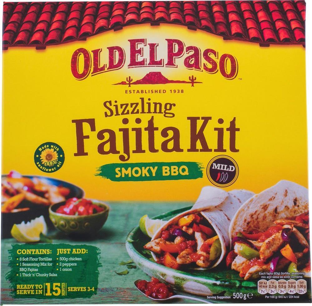Old El Paso Sizzling Fajita Kit Smoky BBQ 500g 500g 500g