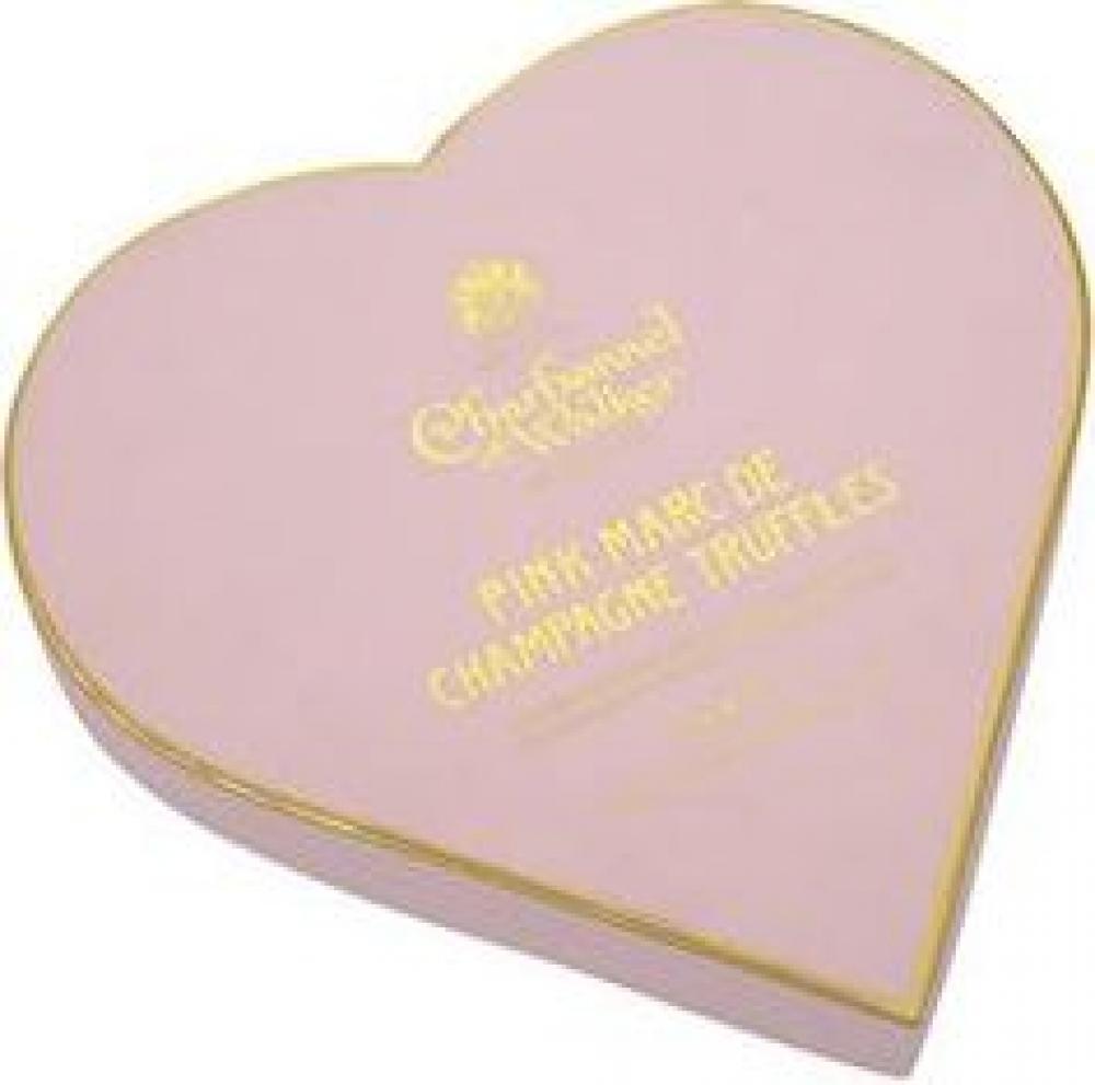 Charbonnel Et Walker Pink Marc de Champagne Truffles in Heart Shaped Box 200g