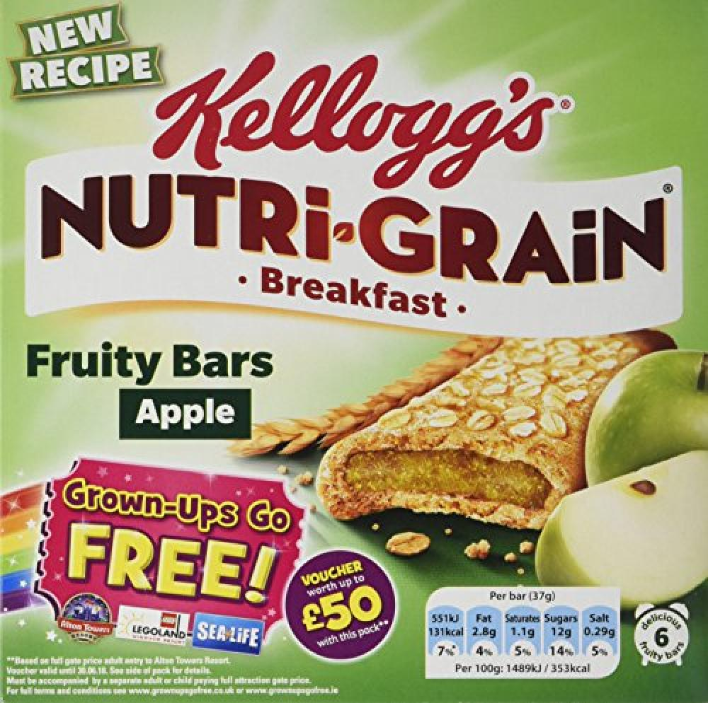 Kelloggs Nutri-Grain Apple Breakfast Bar 6x37g
