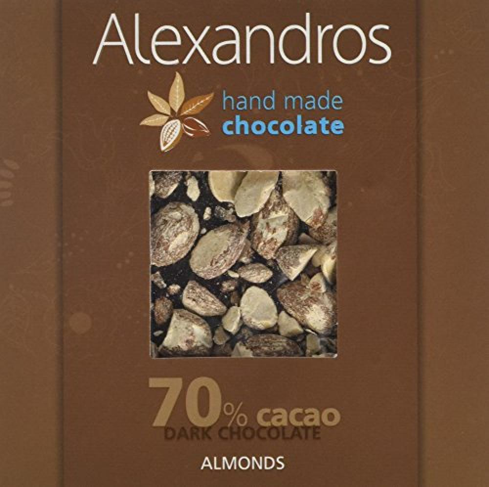 Alexandros 70 Percent Dark Chocolate Bar with Almonds 90 g