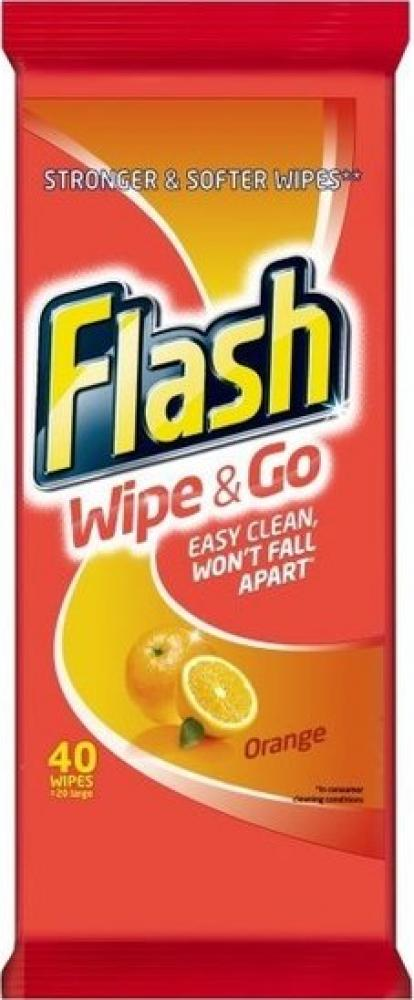 Flash Wipe and Go Orange Cleaning Wipes 40 pack