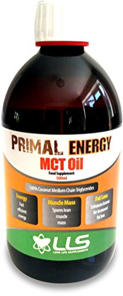LLS Primal Energy MCT Oil | 500ml Bottle | 100 Coconut Medium Chain Tryglycerides | Fast Efficient Energy Found Naturally in Coconut Oil