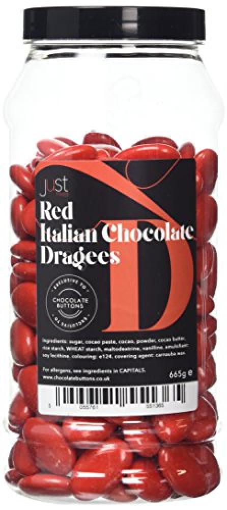 A-Z Sweetshop Just Treats Red Italian Chocolate Dragees Gift Jar