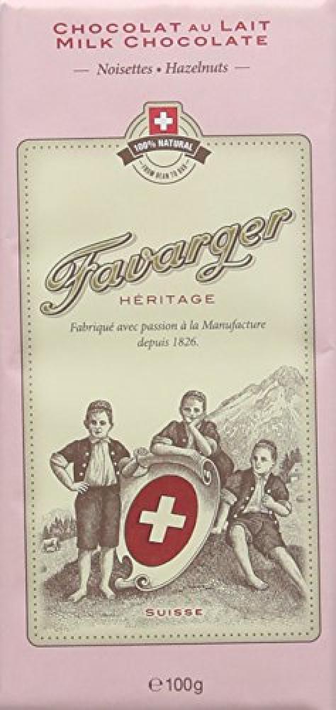 Favarger Heritage Milk Hazelnuts Chocolate Bar 100 g
