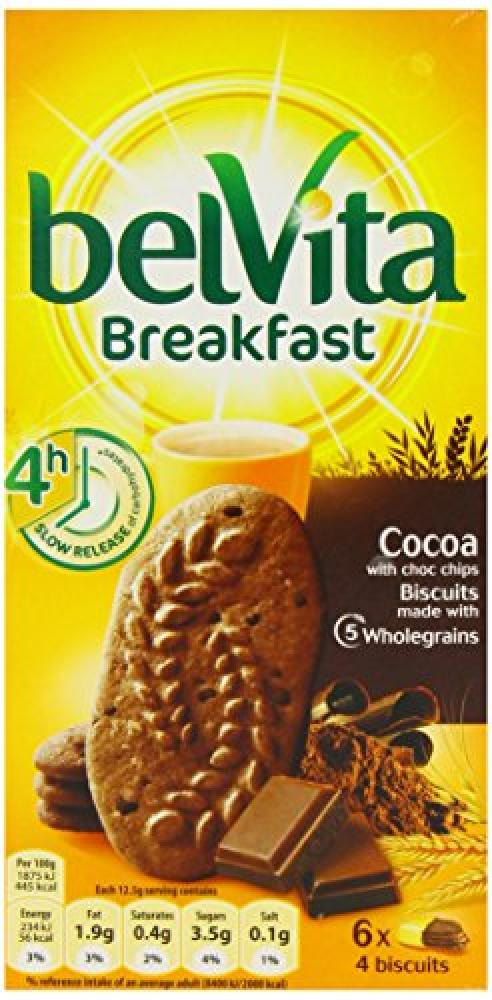 Belvita Breakfast Cocoa Biscuits with Choc Chips 6x4 biscuits 300g