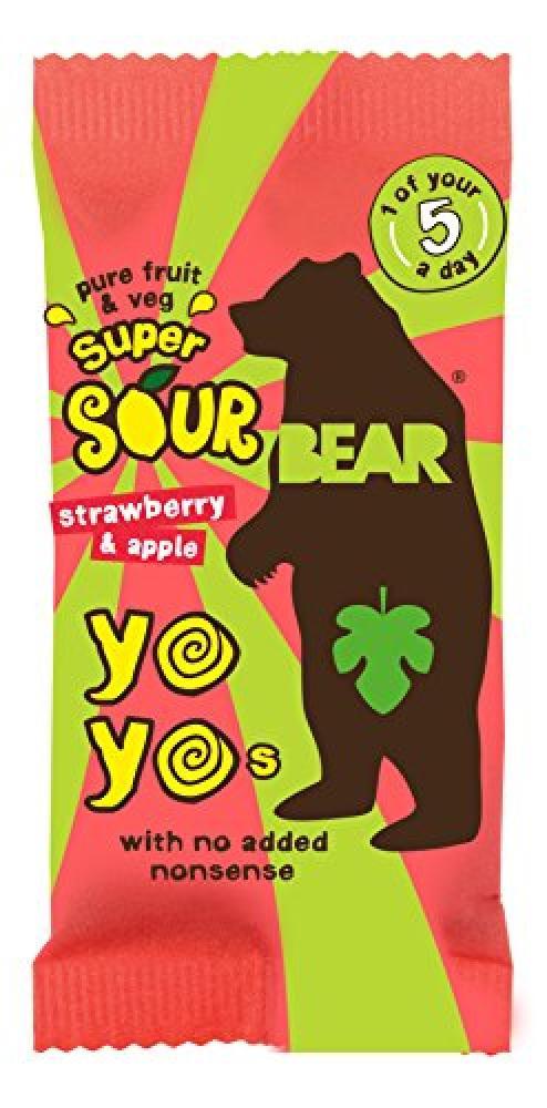 Bear Yoyo Super Sour Strawberry and Apple Fruit Rolls 20 g