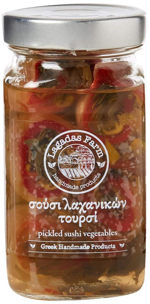 Lagadas Farm Pickled Sushi Vegetables in Glass Jar 480g net weight 270g drained weight