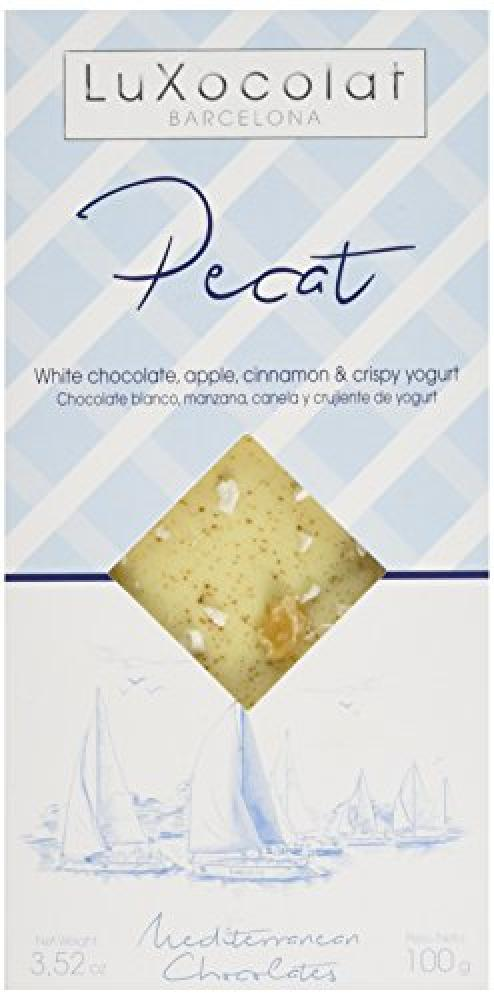 Luxocolat Pecat - White Chocolate Apple Cinnamon and Crispy Yogurt 100g