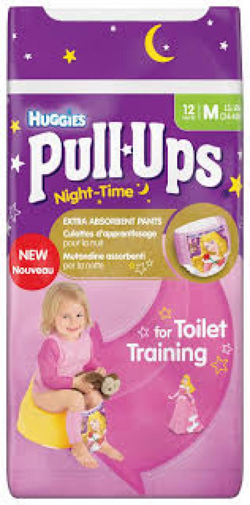 Huggies Pull Ups Girls Night Time Pants Convenience Pack Medium 12 Pants
