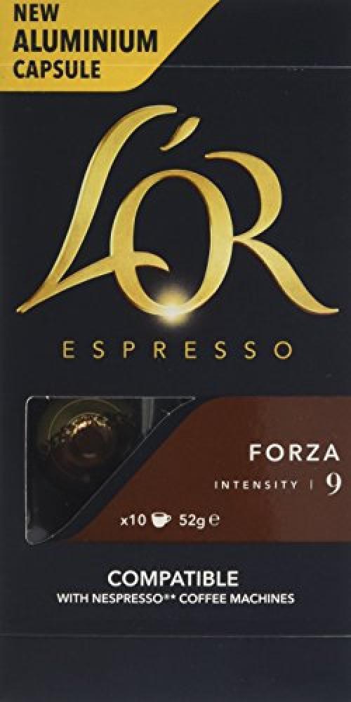LOR Espresso Forza 10 Aluminium Nespresso Compatible Capsules Intensity 9 (Pack of 10) 52 g