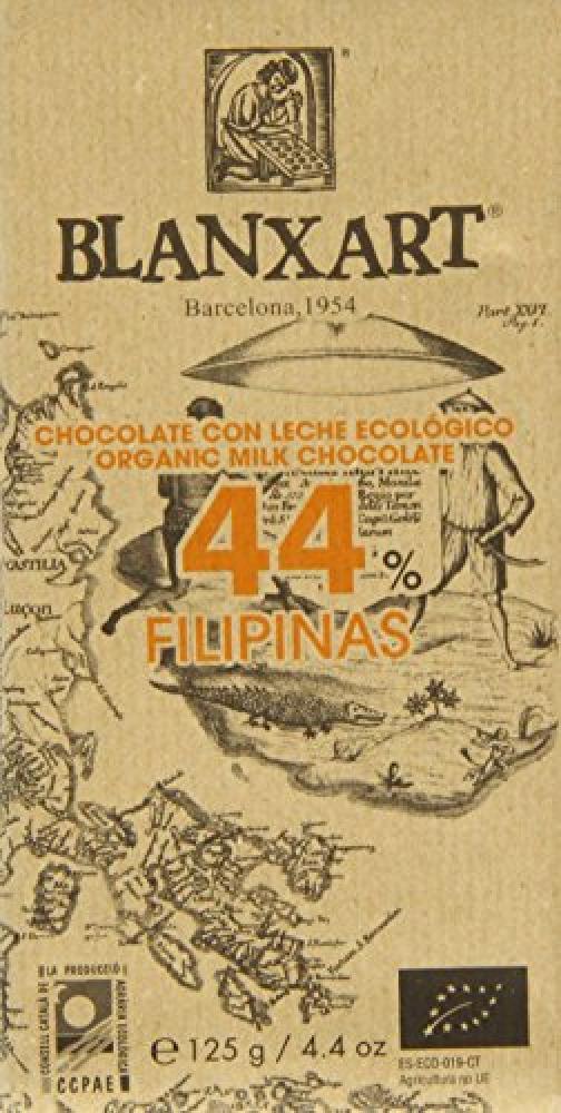 Blanxart Organic Fillipinas 44 Percent Milk Chocolate Bar 125 g