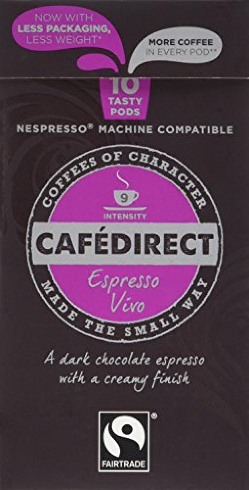 JANUARY SALE  Cafedirect Fairtrade Nespresso Compatible Coffee Capsules Espresso Vivo 10 pods