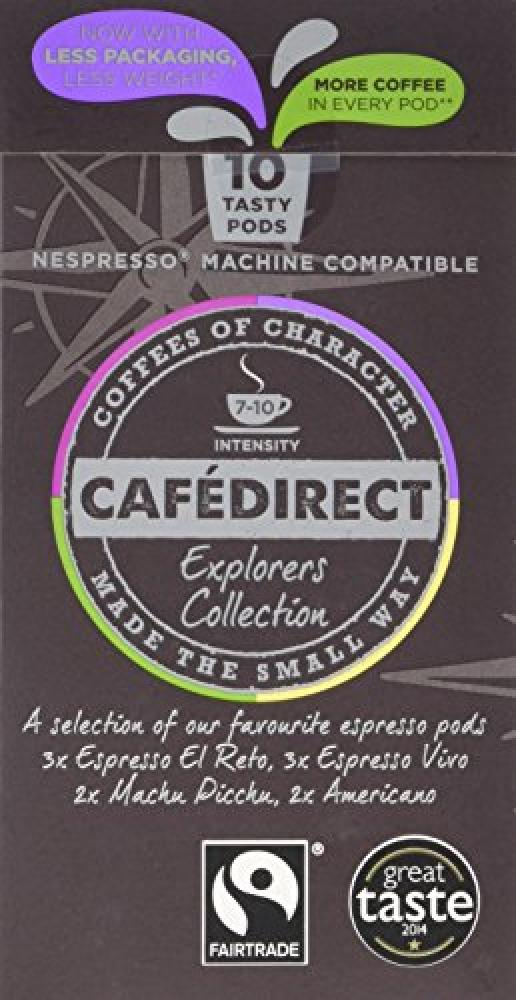 Cafedirect Fairtrade Nespresso Compatible Coffee Capsules Mixed Variety Explorers Collection Pack of 10 Capsules
