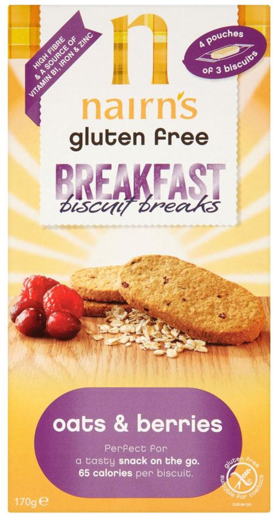 Nairns Gluten Free Breakfast Biscuit Breaks Oats and Berries 170g