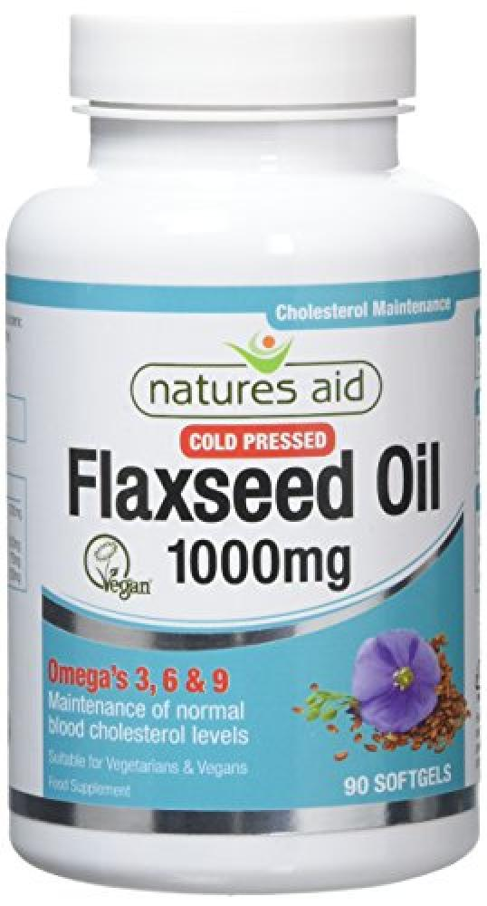 Natures Aid Flaxseed Oil - 1000mg Cold Pressed (Omega 3 6 9) 90 Caps