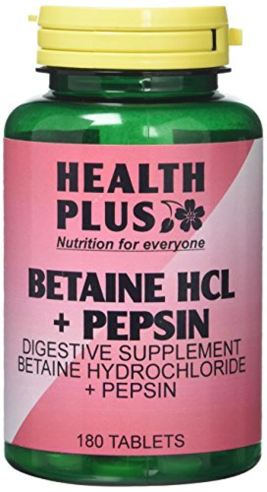 Health Plus Betaine HCL Plus Pepsin 180 Tablets