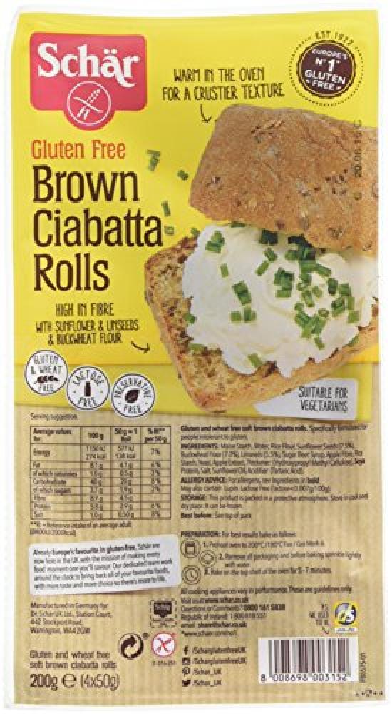 Schar Brown Ciabatta Rolls 200 g