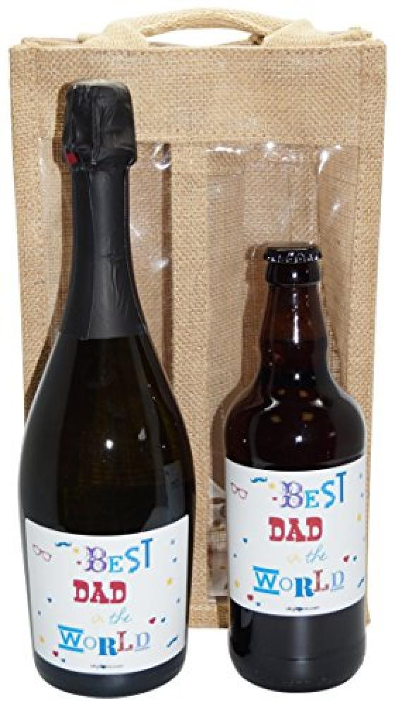 LAST CHANCE  Ukgiftbox Best Dad in the World Prosecco and Beer Gift Set