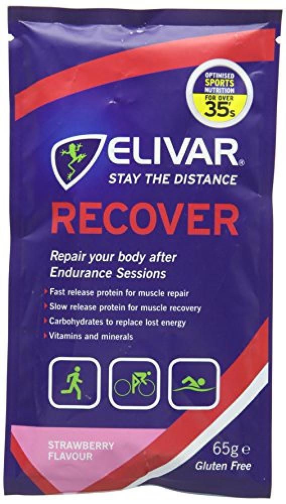 Elivar 65g Strawberry Flavour Recover Post Training Energy and Protein Recovery Drink Mix