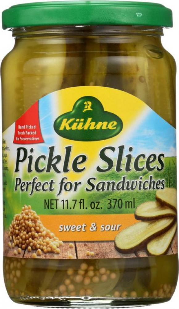 Kuhne Pickle Slices Sweet and Sour 370ml
