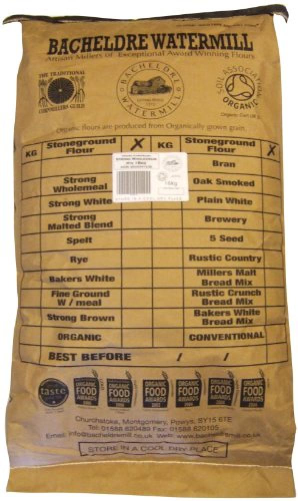 Bacheldre Watermill Organic Stoneground Strong Wholegrain Rye Flour 16kg