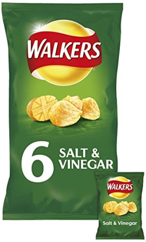 Walkers Salt and Vinegar Flavour Crisps 6Packs