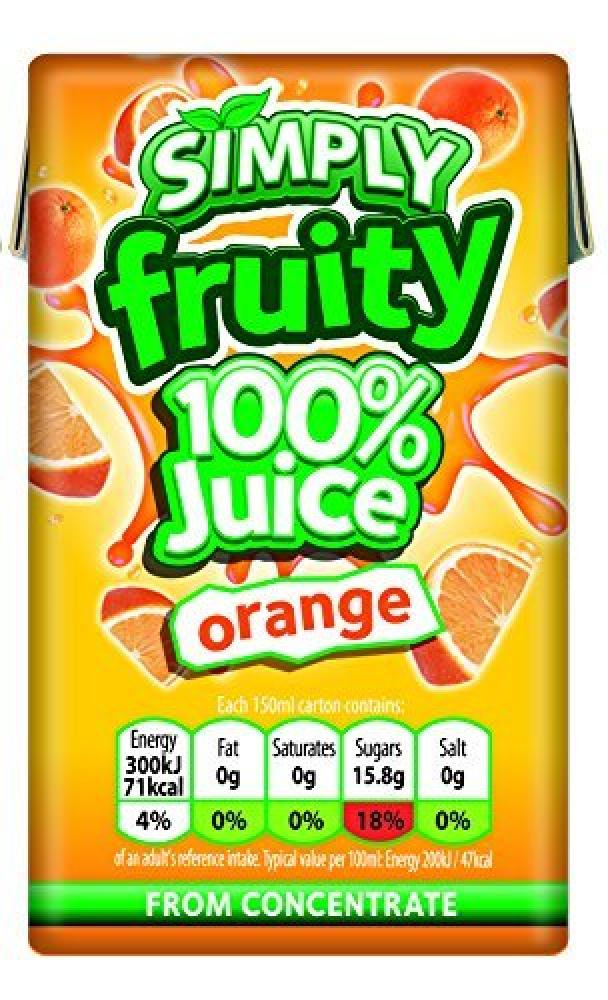 Simply Pure Orange Fruit Juice Cartons 150 ml