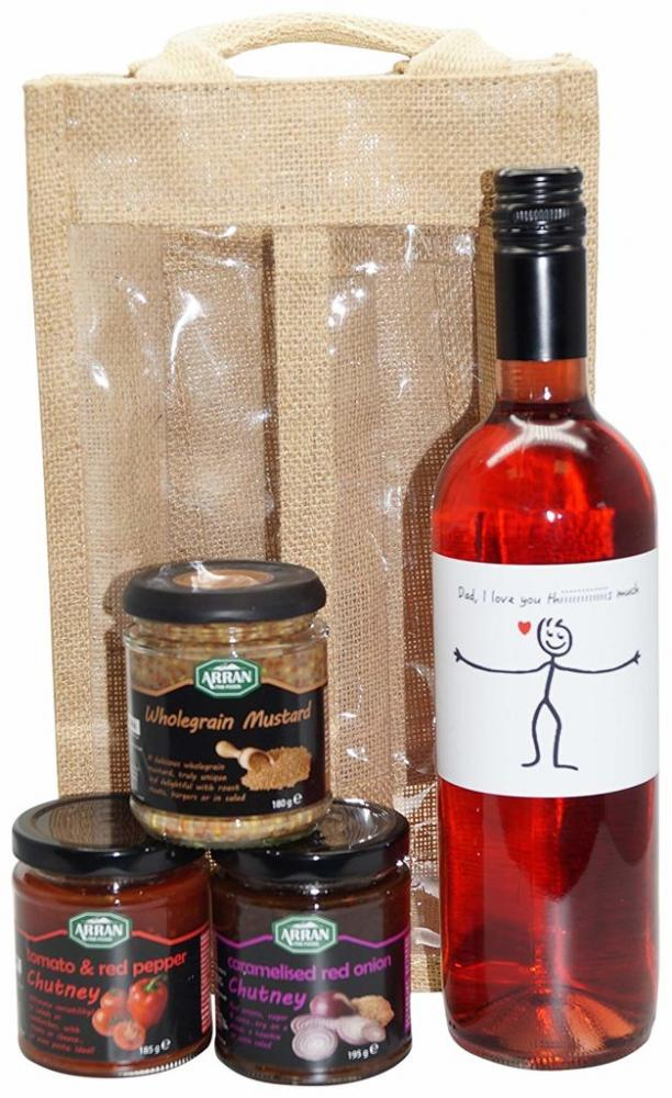 Ukgiftbox Dad I love you this much Rose Wine and Chutney Gift Set