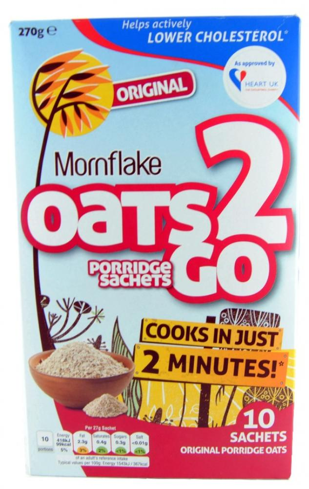 Mornflake Oats 2 Go Original 10 Porridge Sachets 270g