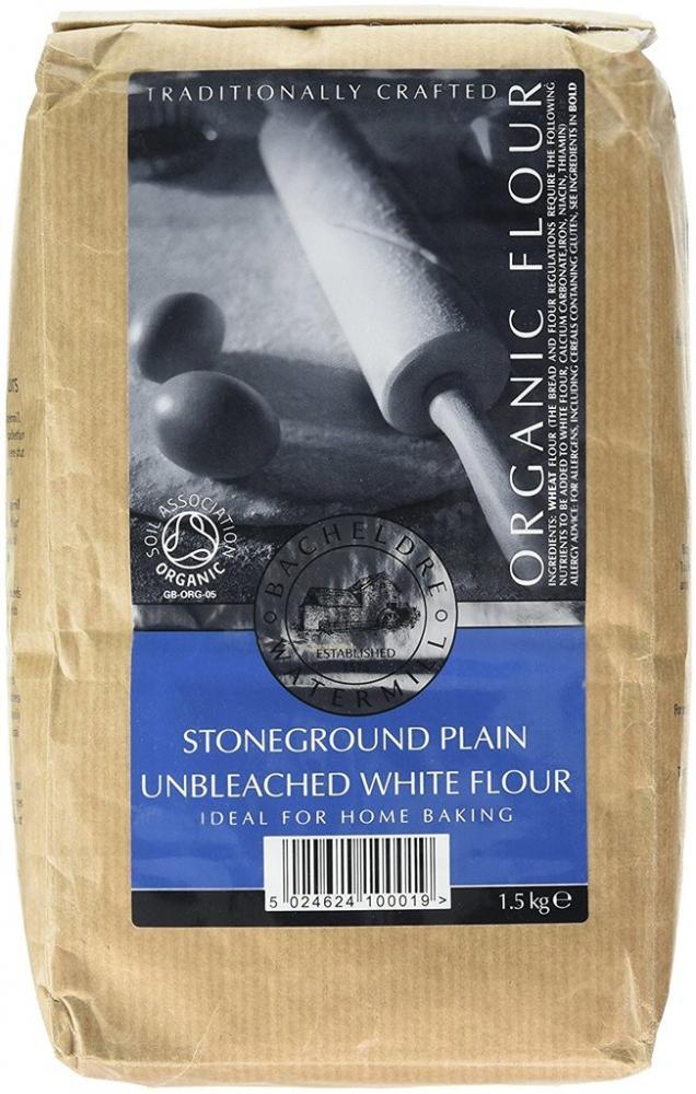Bacheldre Watermill Organic Stoneground Plain Unbleached White Flour 1500g