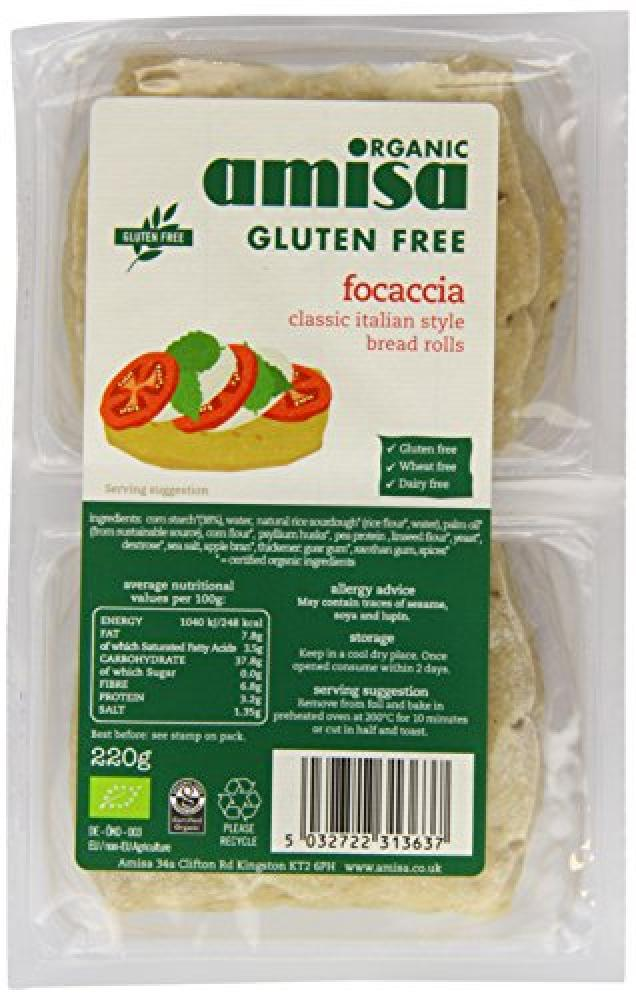 Amisa Organic Gluten Free Foccacia White Rolls 220 g