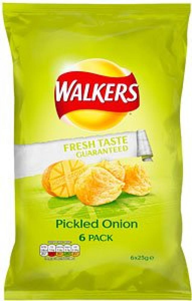 Walkers Pickled Onion Flavour Crisps 6 x 25g