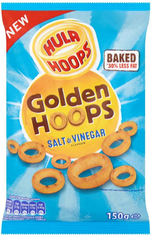 Hula Hoops Golden Hoops Salt And Vinegar Flavour 150g