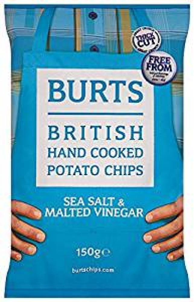 Burts Sea Salt and Malted Vinegar Flavour Crisps 150g