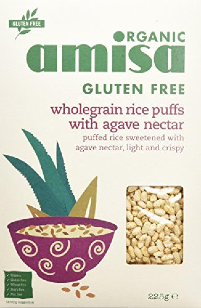 Amisa Organic Glutenfree Wholegrain Rice Puffs With Agave Nectar 225g