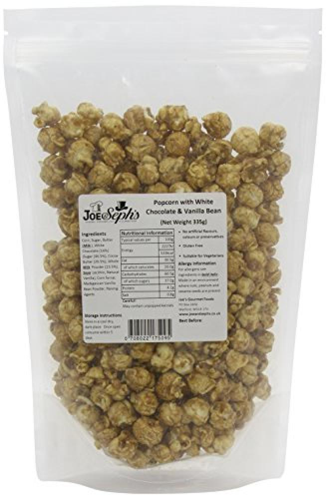 Joe and Sephs White Chocolate and Vanilla Bean Popcorn Bulk Catering Pack 335 g