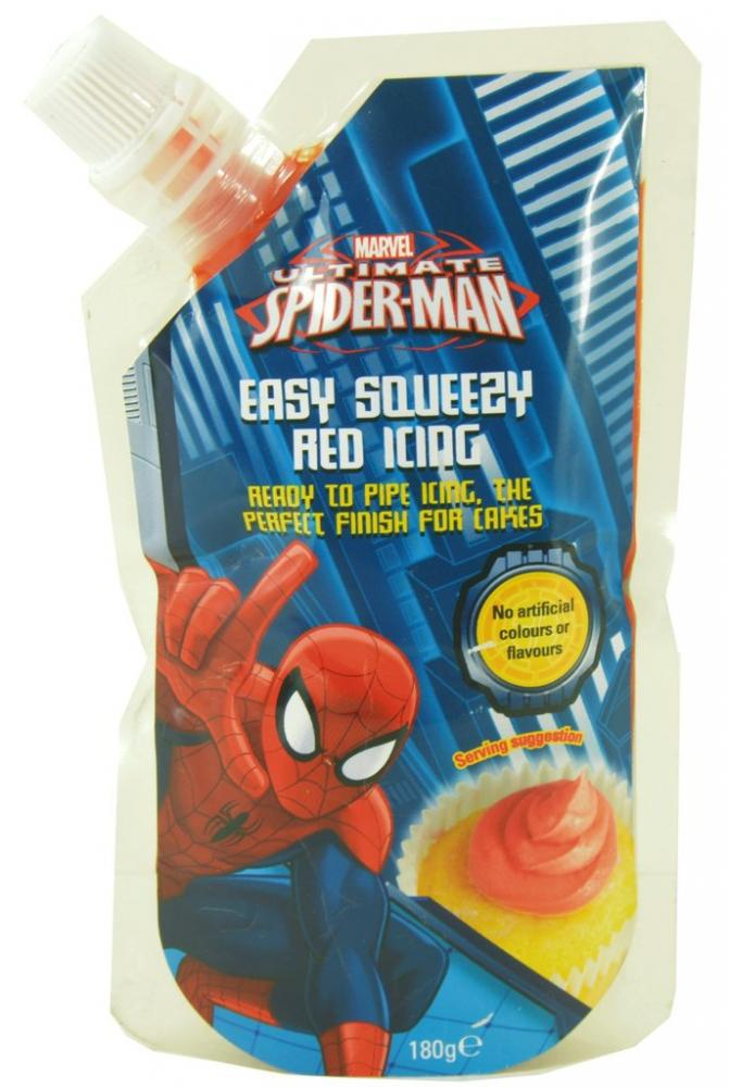 Marvel Spiderman Easy Squeezy Red Icing 180g