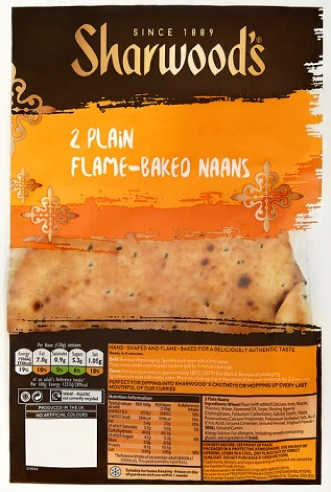 Sharwoods 2 Plain Naans 260g