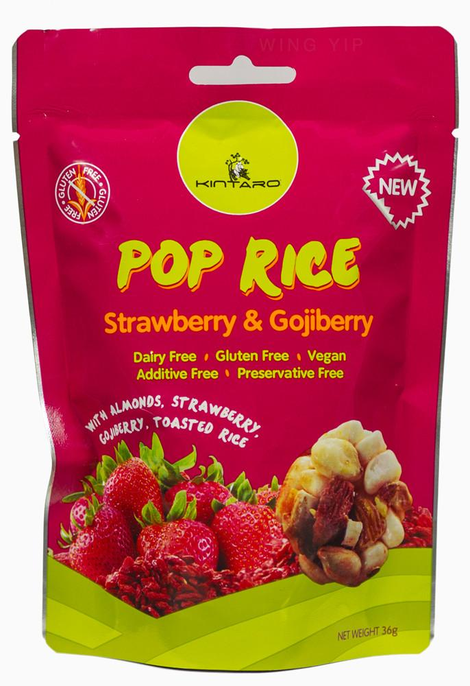 Kintaro  Pop Rice Strawberry and Goji Berry 36g