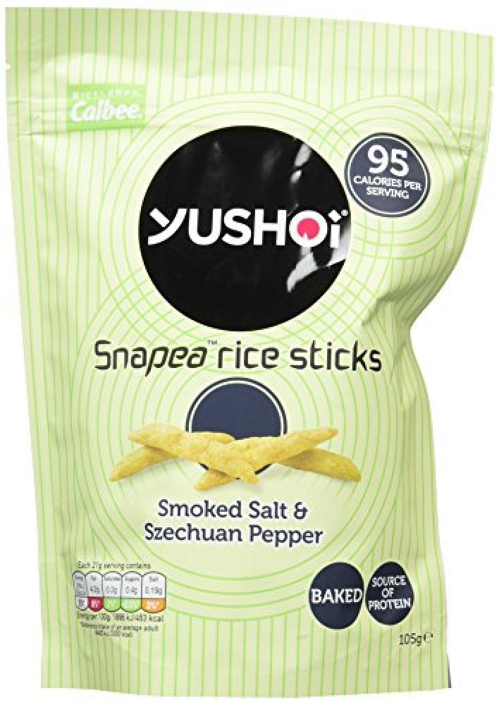 Yushoi Snapea Rice Sticks Savoury Snack Smoked Salt and Szechuan Pepper 105 g