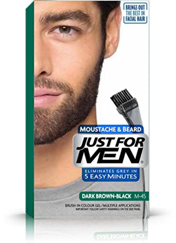 Just For Men M45 Moustache and Beard Facial Hair Color Dark Brown-Black